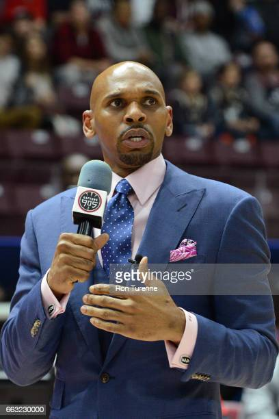 Jerry Stackhouse of the Raptors 905 talks to the fans before the game against the Windy City Bulls on March 30 2017 in Mississauga Ontario Canada...