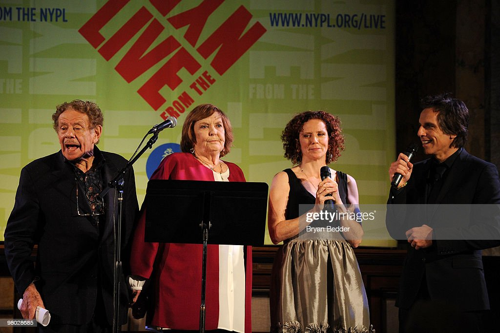 Jerry Stiller, Anne Meara, Amy Stiller and Ben Stiller attend the George Carlin Tribute hosted by Whoopi Goldberg at the New York Public Library - Celeste Bartos Forum on March 24, 2010 in New York City.