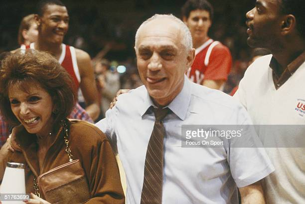Jerry Tarkanian head coach of UNLV Rebels walks off the court after winning a game against Western Kentucky Hilltoppers during the 1980s
