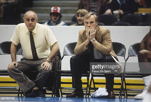 Jerry Tarkanian head coach of UNLV Rebels watches his team on the sidelines in a game against Western Kentucky Hilltoppers during the 1980s