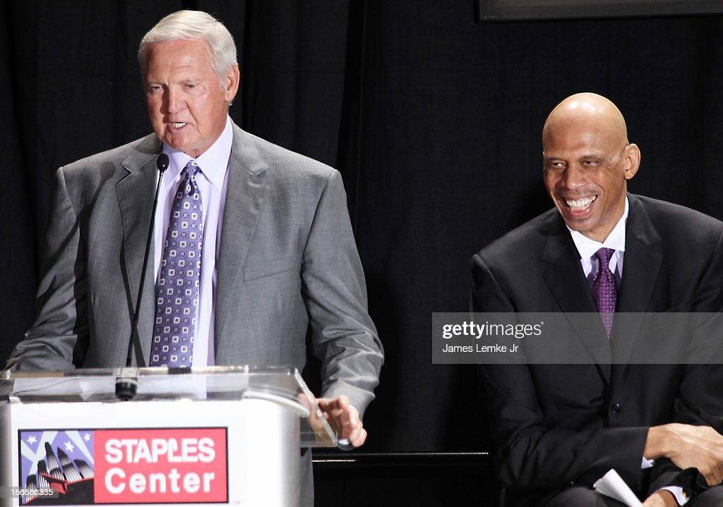 Jerry West and Kareem Abdul-Jabbar attends the Kareem Abdul-Jabbar Statue Unveiling held at the Staples Center on November 16, 2012 in Los Angeles, California.