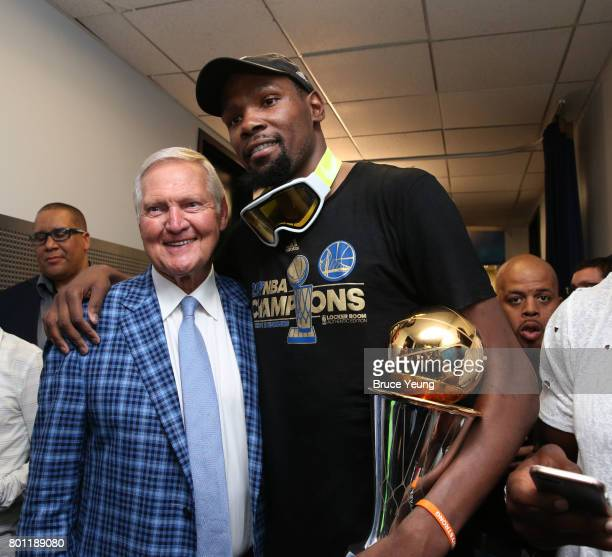Jerry West and Kevin Durant of the Golden State Warriors pose for a photo after winning Game Five of the 2017 NBA Finals against the Cleveland...