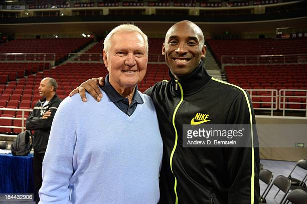 Jerry West and Kobe Bryant of the Los Angeles Lakers poses for a photo during practice as part of 2013 Global Games on October 14 2013 at the...