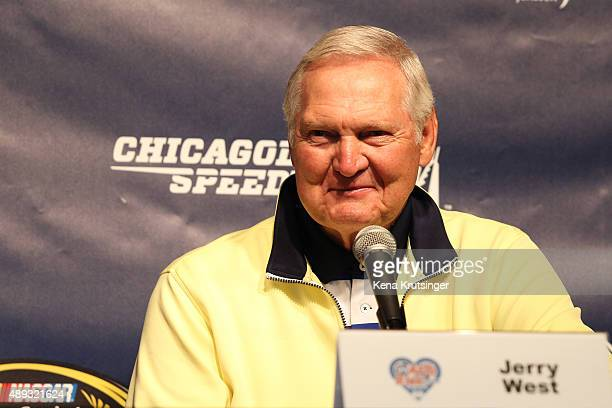 Jerry West former NBA player speaks at a press conference prior to the NASCAR Sprint Cup Series myAFibRiskcom 400 at Chicagoland Speedway on...