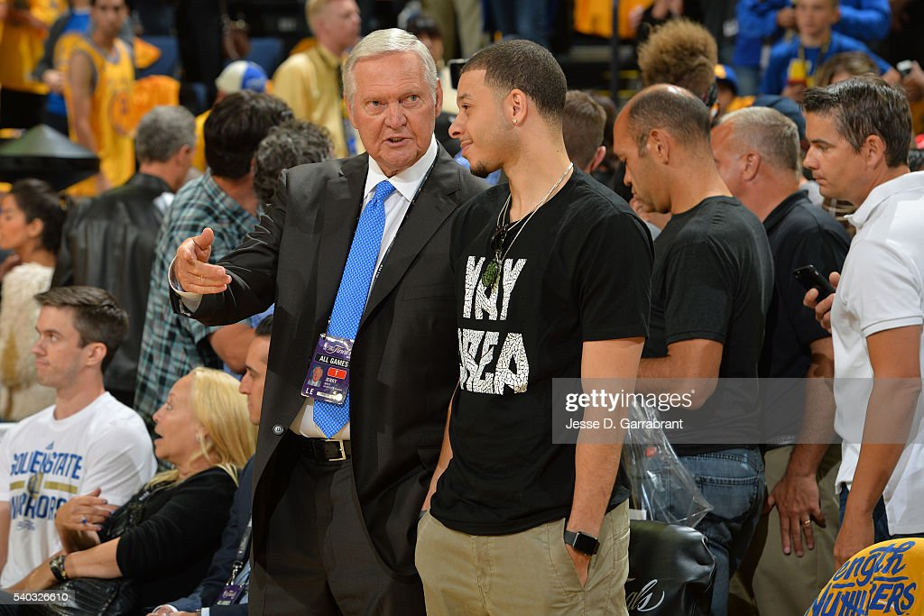 <a gi-track='captionPersonalityLinkClicked' href=/galleries/search?phrase=Jerry+West&family=editorial&specificpeople=206255 ng-click='$event.stopPropagation()'>Jerry West</a> of the Golden State Warriors talks to <a gi-track='captionPersonalityLinkClicked' href=/galleries/search?phrase=Seth+Curry&family=editorial&specificpeople=5945068 ng-click='$event.stopPropagation()'>Seth Curry</a> #30 of the Sacramento Kings before Game Five of the 2016 NBA Finals between the Cleveland Cavaliers and the Golden State Warriors on June 13, 2016 at ORACLE Arena in Oakland, California.