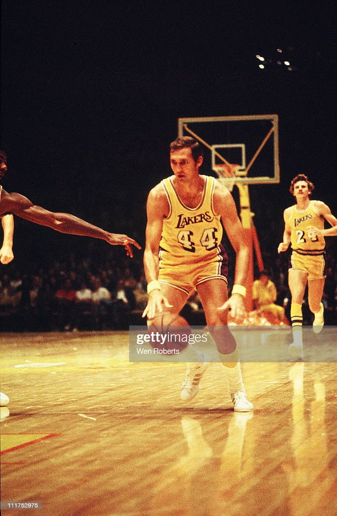 Jerry West of the Los Angeles Lakers dribbles during a game at the Great Western Forum in Inglewood California circa 1971 NOTE TO USER User expressly...