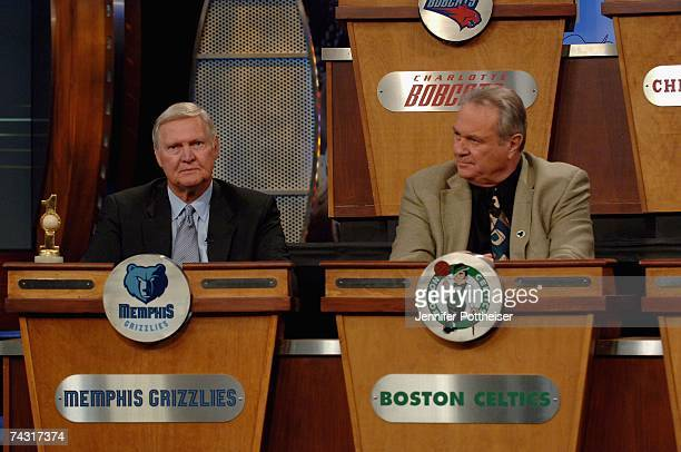 Jerry West President of Basketball Operations of the Memphis Grizzlies and Tommy Heinsohn former player and voice of the Boston Celtics wait for the...