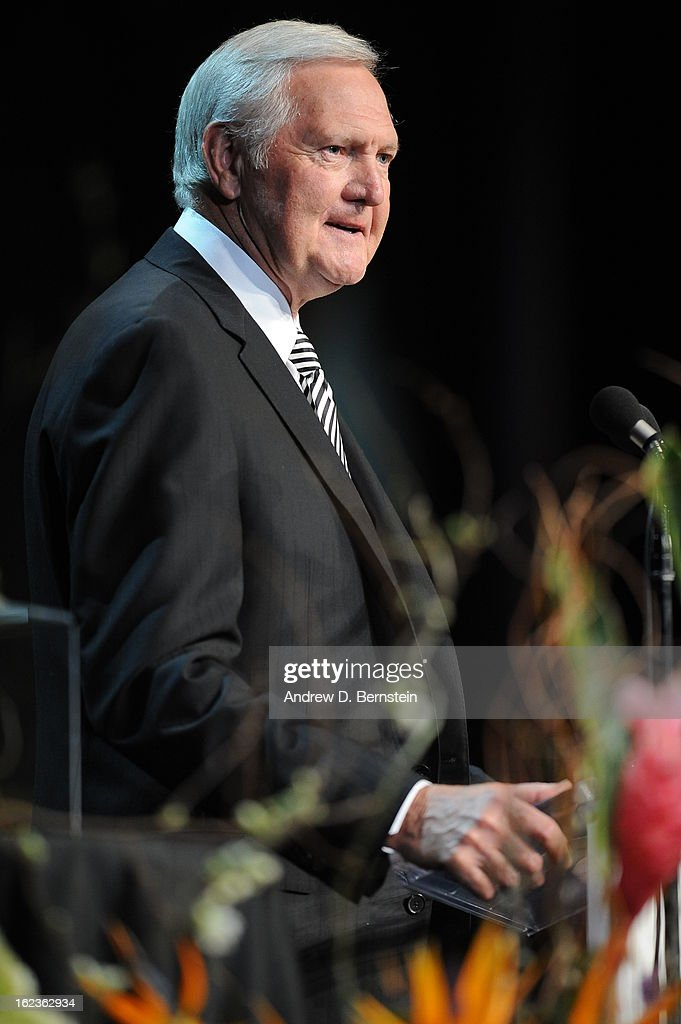 Jerry West speaks during the memorial service for Los Angeles Lakers Owner Dr. Jerry Buss at Nokia Theatre LA LIVE on February 21, 2013 in Los Angeles, California.