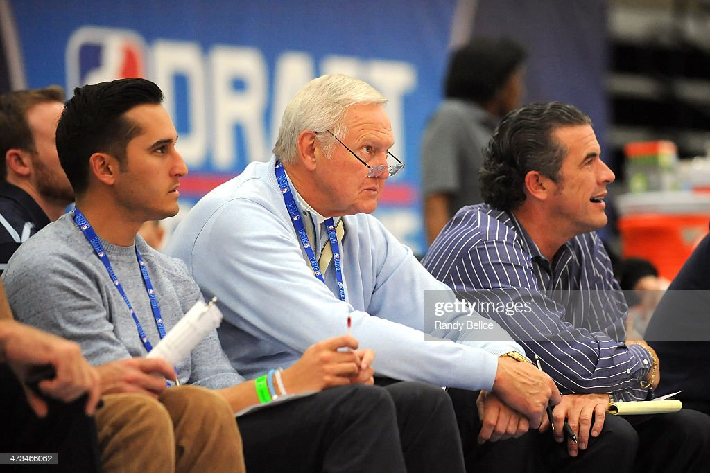 Jerry West takes in the action during the 2015 NBA Draft Combine on May 14 2015 at Quest Multiplex in Chicago Illinois NOTE TO USER User expressly...