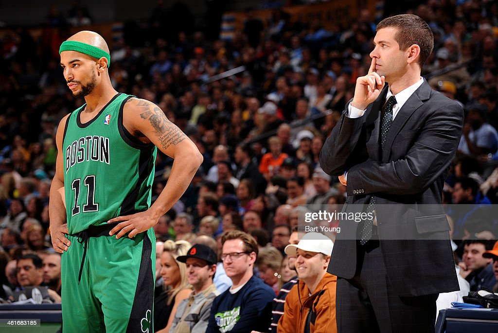 <a gi-track='captionPersonalityLinkClicked' href=/galleries/search?phrase=Jerryd+Bayless&family=editorial&specificpeople=4216027 ng-click='$event.stopPropagation()'>Jerryd Bayless</a> #11 and Brad Stevens of the Boston Celtics talk during the game against the Denver Nuggets on January 7, 2014 at the Pepsi Center in Denver, Colorado.