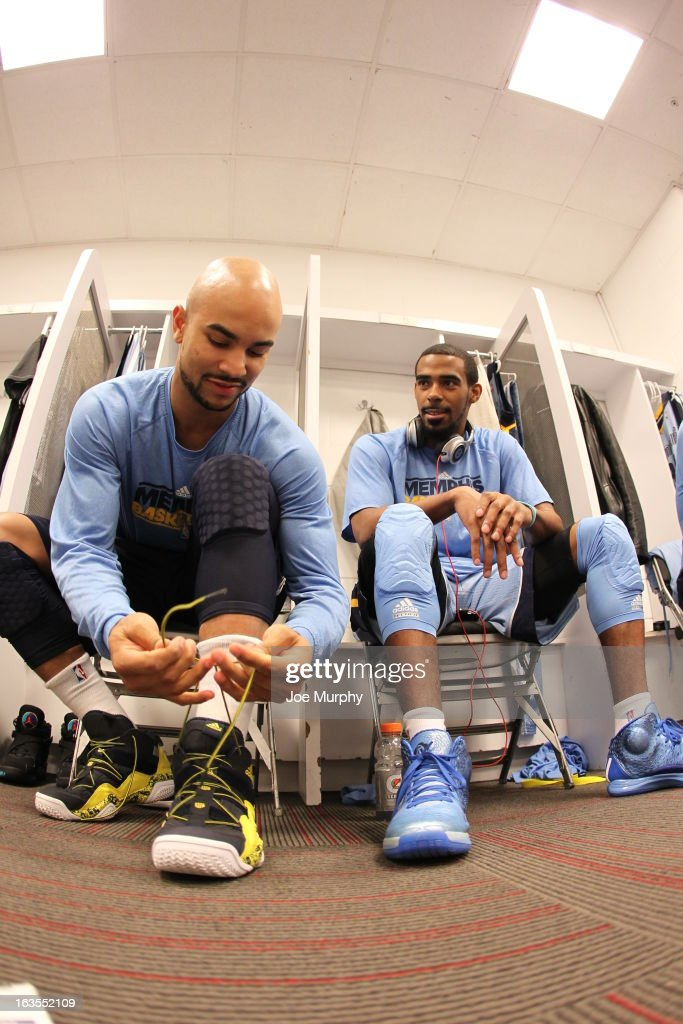 <a gi-track='captionPersonalityLinkClicked' href=/galleries/search?phrase=Jerryd+Bayless&family=editorial&specificpeople=4216027 ng-click='$event.stopPropagation()'>Jerryd Bayless</a> #7 and Mike Conley #11 of the Memphis Grizzlies in the locker room before the game against the Miami Heat on March 1, 2013 at American Airlines Arena in Miami, Florida.