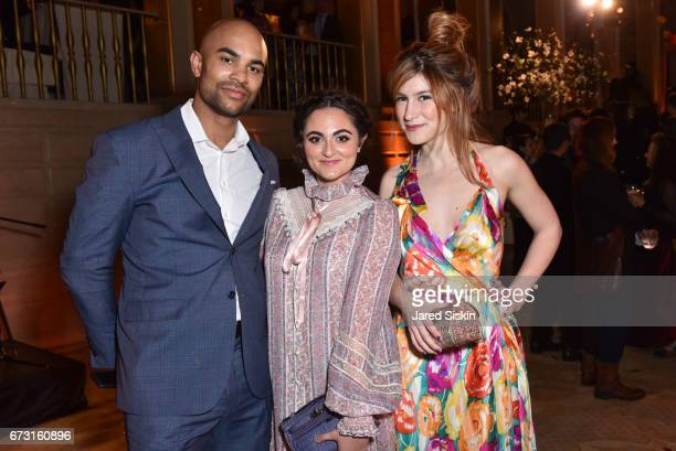Jerryd Bayless Emma Lasry and Caroline Hoffman attend Skowhegan Awards Dinner 2017 at The Plaza Hotel on April 25 2017 in New York City