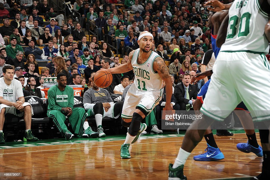 <a gi-track='captionPersonalityLinkClicked' href=/galleries/search?phrase=Jerryd+Bayless&family=editorial&specificpeople=4216027 ng-click='$event.stopPropagation()'>Jerryd Bayless</a> #11 of the Boston Celtics dribbles the ball against the Philadelphia 76ers on April 4, 2014 at the TD Garden in Boston, Massachusetts.
