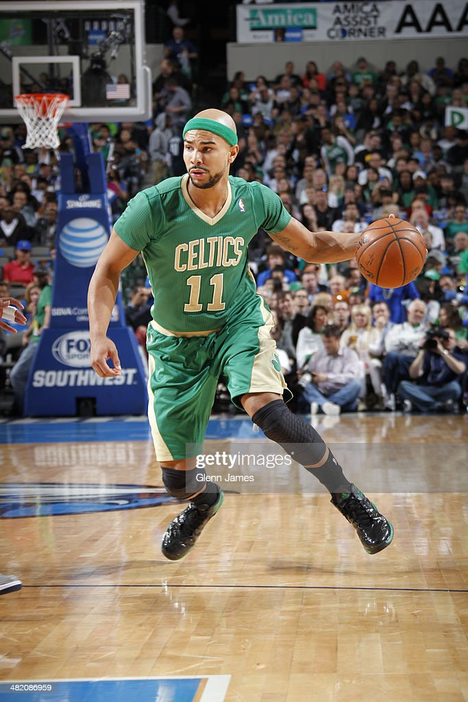 <a gi-track='captionPersonalityLinkClicked' href=/galleries/search?phrase=Jerryd+Bayless&family=editorial&specificpeople=4216027 ng-click='$event.stopPropagation()'>Jerryd Bayless</a> #11 of the Boston Celtics dribbles the ball during the game against the Dallas Mavericks on March 17, 2014 at the American Airlines Center in Dallas, Texas.