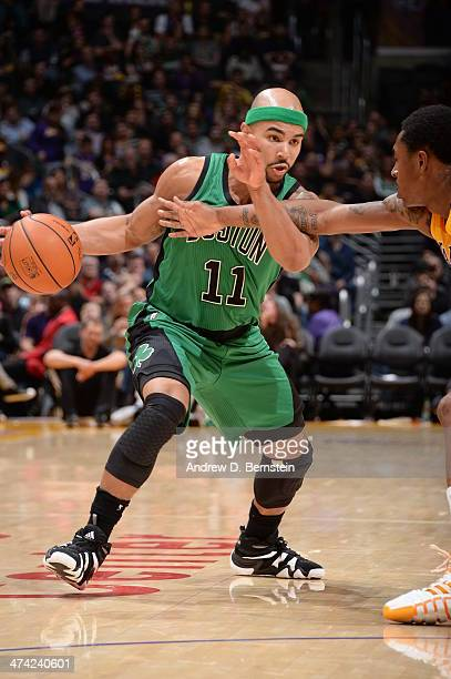 Jerryd Bayless of the Boston Celtics handles the ball against the Los Angeles Lakers at STAPLES Center on February 21 2014 in Los Angeles California...