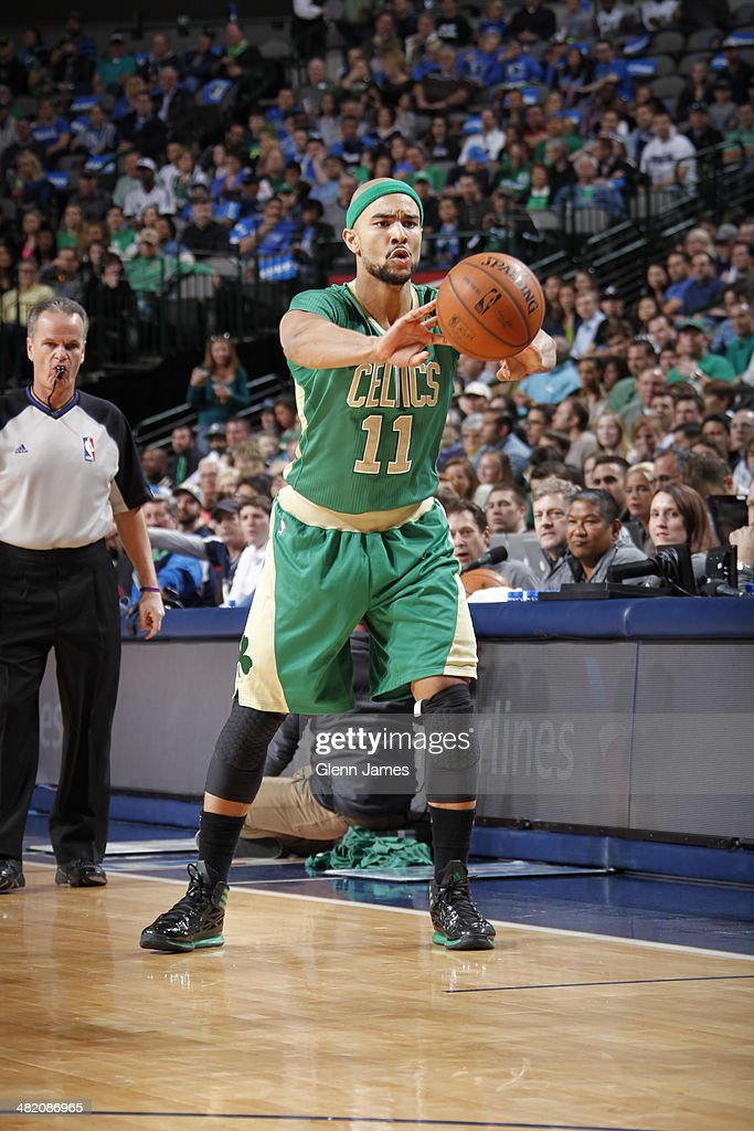 <a gi-track='captionPersonalityLinkClicked' href=/galleries/search?phrase=Jerryd+Bayless&family=editorial&specificpeople=4216027 ng-click='$event.stopPropagation()'>Jerryd Bayless</a> #11 of the Boston Celtics passes the ball during the game against the Dallas Mavericks on March 17, 2014 at the American Airlines Center in Dallas, Texas.