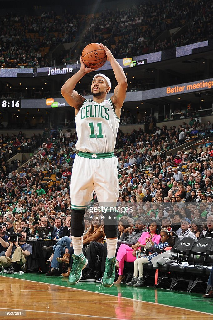 <a gi-track='captionPersonalityLinkClicked' href=/galleries/search?phrase=Jerryd+Bayless&family=editorial&specificpeople=4216027 ng-click='$event.stopPropagation()'>Jerryd Bayless</a> #11 of the Boston Celtics shoots the ball against the Philadelphia 76ers on April 4, 2014 at the TD Garden in Boston, Massachusetts.