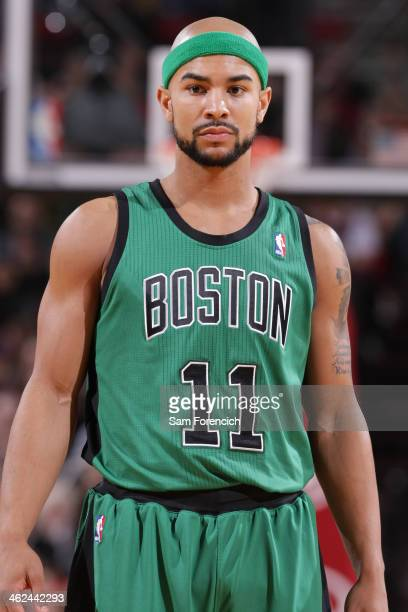 Jerryd Bayless of the Boston Celtics stands on the court against the Portland Trail Blazers on January 11 2014 at the Moda Center Arena in Portland...