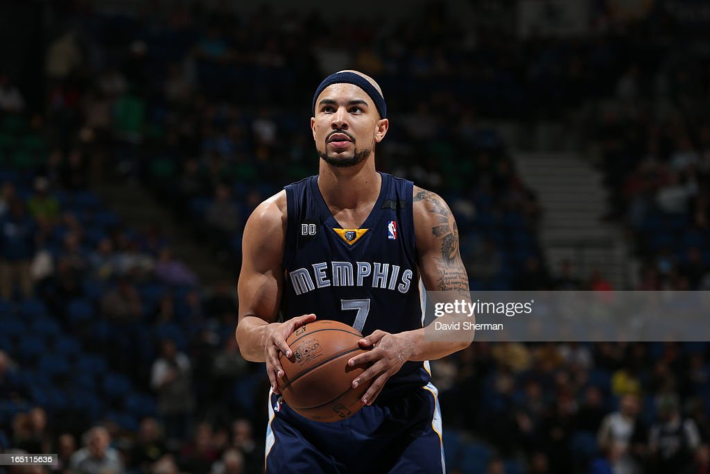 Jerryd Bayless #7 of the Memphis Grizzlies aims for a free throw during the game between the Memphis Grizzlies and the Minnesota Timberwolves on March 30, 2013 at Target Center in Minneapolis, Minnesota.
