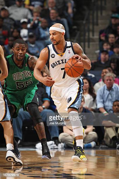 Jerryd Bayless of the Memphis Grizzlies driblles the ball against the Boston Celtics on March 23 2013 at FedExForum in Memphis Tennessee NOTE TO USER...