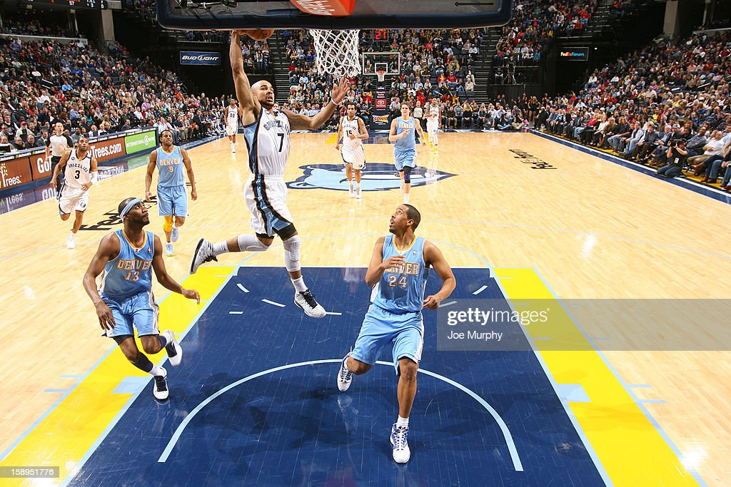 <a gi-track='captionPersonalityLinkClicked' href=/galleries/search?phrase=Jerryd+Bayless&family=editorial&specificpeople=4216027 ng-click='$event.stopPropagation()'>Jerryd Bayless</a> #7 of the Memphis Grizzlies drives to the basket against the Denver Nuggets on December 29, 2012 at FedExForum in Memphis, Tennessee.