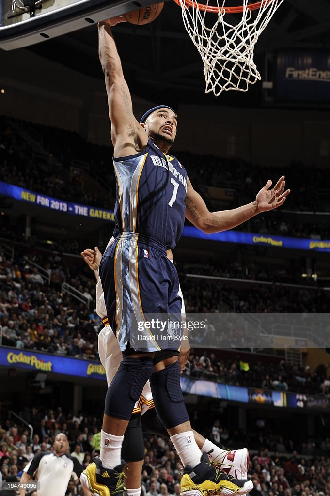 <a gi-track='captionPersonalityLinkClicked' href=/galleries/search?phrase=Jerryd+Bayless&family=editorial&specificpeople=4216027 ng-click='$event.stopPropagation()'>Jerryd Bayless</a> #7 of the Memphis Grizzlies dunks the ball against the Cleveland Cavaliers at The Quicken Loans Arena on March 8, 2013 in Cleveland, Ohio.
