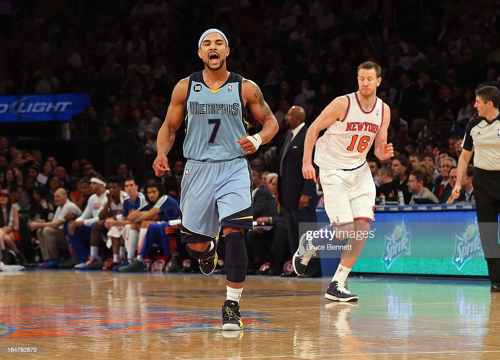 Jerryd Bayless #7 of the Memphis Grizzlies plays against the New York Knicks at Madison Square Garden on March 27, 2013 in New York City. The Knicks defeated the Grizzlies 108-101.