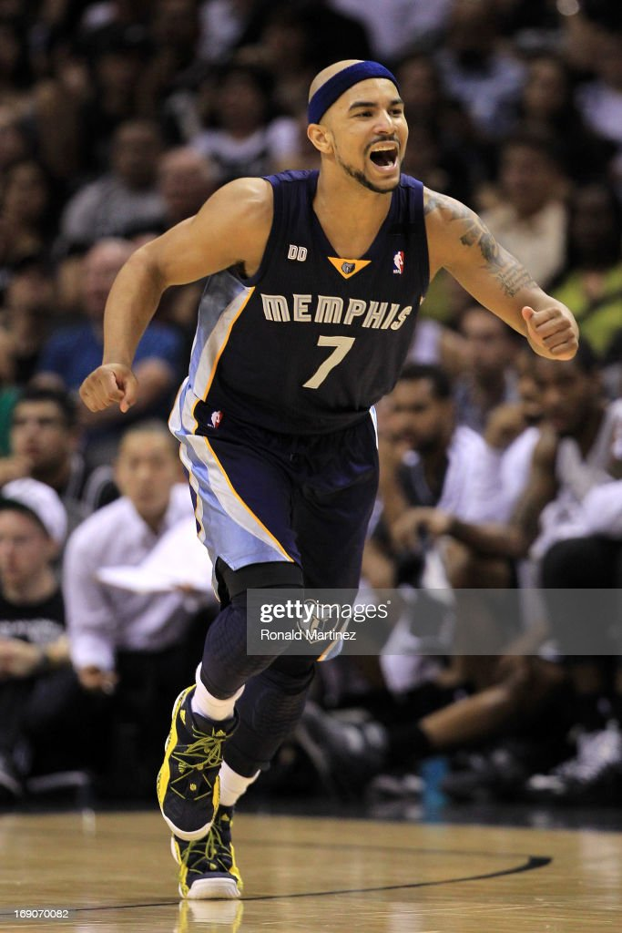 <a gi-track='captionPersonalityLinkClicked' href=/galleries/search?phrase=Jerryd+Bayless&family=editorial&specificpeople=4216027 ng-click='$event.stopPropagation()'>Jerryd Bayless</a> #7 of the Memphis Grizzlies reacts in the second half against the San Antonio Spurs during Game One of the Western Conference Finals of the 2013 NBA Playoffs at AT&T Center on May 19, 2013 in San Antonio, Texas.