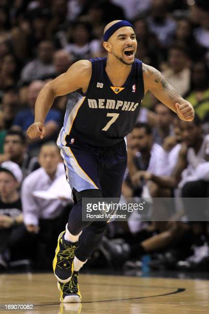 Jerryd Bayless of the Memphis Grizzlies reacts in the second half against the San Antonio Spurs during Game One of the Western Conference Finals of...