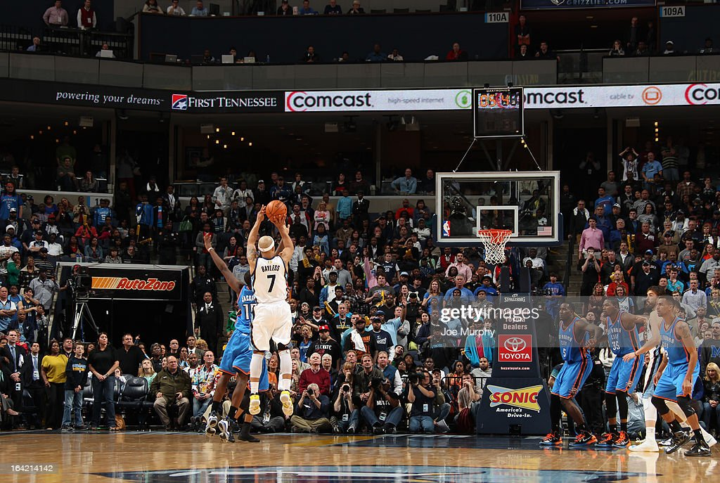 Jerryd Bayless #7 of the Memphis Grizzlies shoots a buzzer beater against the Oklahoma City Thunder to send the game into overtime on March 20, 2013 at FedExForum in Memphis, Tennessee.