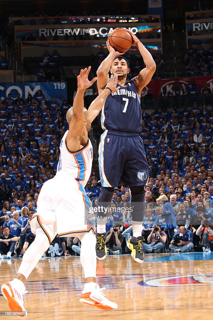 Jerryd Bayless #7 of the Memphis Grizzlies shoots the ball against the Oklahoma City Thunder in Game One of the Western Conference Semifinals during the 2013 NBA Playoffs on May 5, 2013 at the Chesapeake Energy Arena in Oklahoma City, Oklahoma.