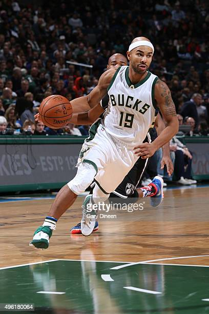 Jerryd Bayless of the Milwaukee Bucks drives to the basket against the Brooklyn Nets on November 7 2015 at the BMO Harris Bradley Center in Milwaukee...