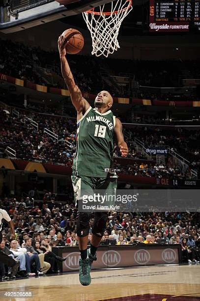 Jerryd Bayless of the Milwaukee Bucks goes to the basket against the Cleveland Cavaliers on October 13 2015 at Quicken Loans Arena in Cleveland Ohio...