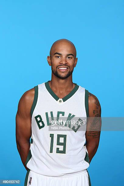 Jerryd Bayless of the Milwaukee Bucks poses for a portrait during Media Day on September 28 2015 at the Orthopaedic Hospital of Wisconsin Training...