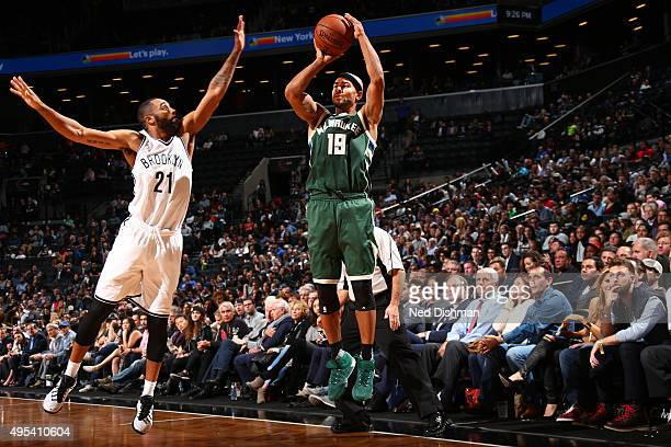 Jerryd Bayless of the Milwaukee Bucks shoots the ball against the Brooklyn Nets during the game on November 2 2015 at Barclays Center in Brooklyn New...