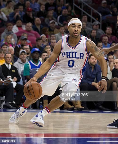 Jerryd Bayless of the Philadelphia 76ers dribbles the ball against the Memphis Grizzlies at Wells Fargo Center on November 23 2016 in Philadelphia...
