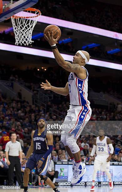 Jerryd Bayless of the Philadelphia 76ers makes a layup against the Memphis Grizzlies in the first quarter at Wells Fargo Center on November 23 2016...