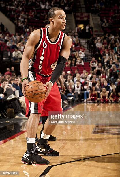 Jerryd Bayless of the Portland Trail Blazers handles the ball against the New York Knicks during a game on March 31 2010 at the Rose Garden Arena in...