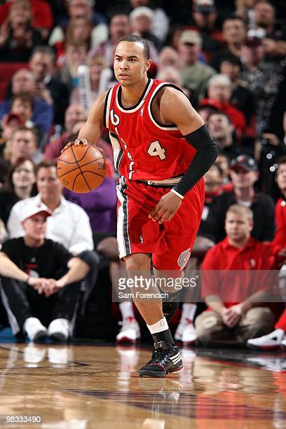 Jerryd Bayless of the Portland Trail Blazers moves the ball up court during the game against the New York Knicks at The Rose Garden on March 31 2010...
