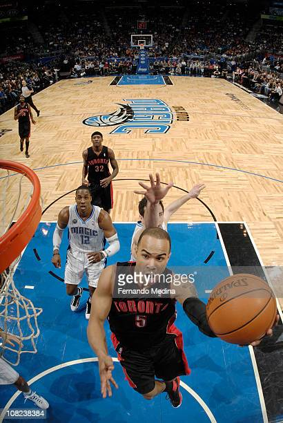 Jerryd Bayless of the Toronto Raptors shoots against the Orlando Magic on January 21 2011 at the Amway Center in Orlando Florida NOTE TO USER User...