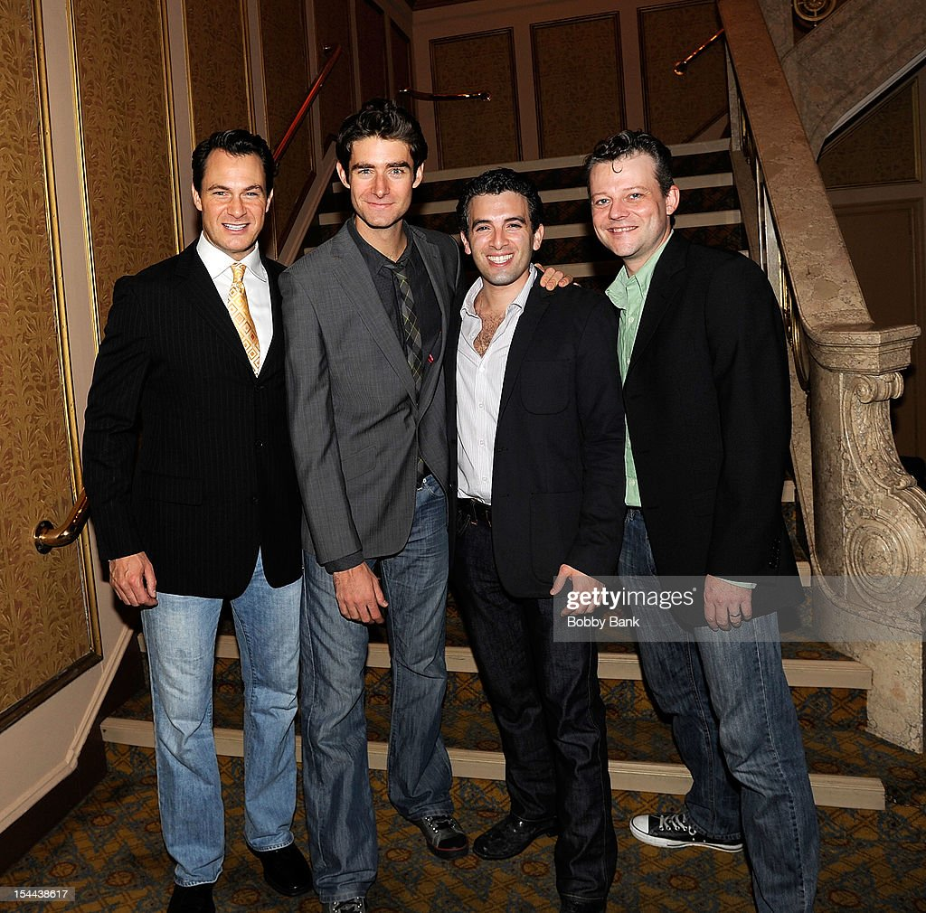 Jersey Boys cast members Matt Bogart, Drew Gehling, Jarrod Spector and Jeremy Kushnier attend Frankie Valli And The Four Seasons 50th Anniversary Celebration at Broadway Theatre on October 19, 2012 in New York City.