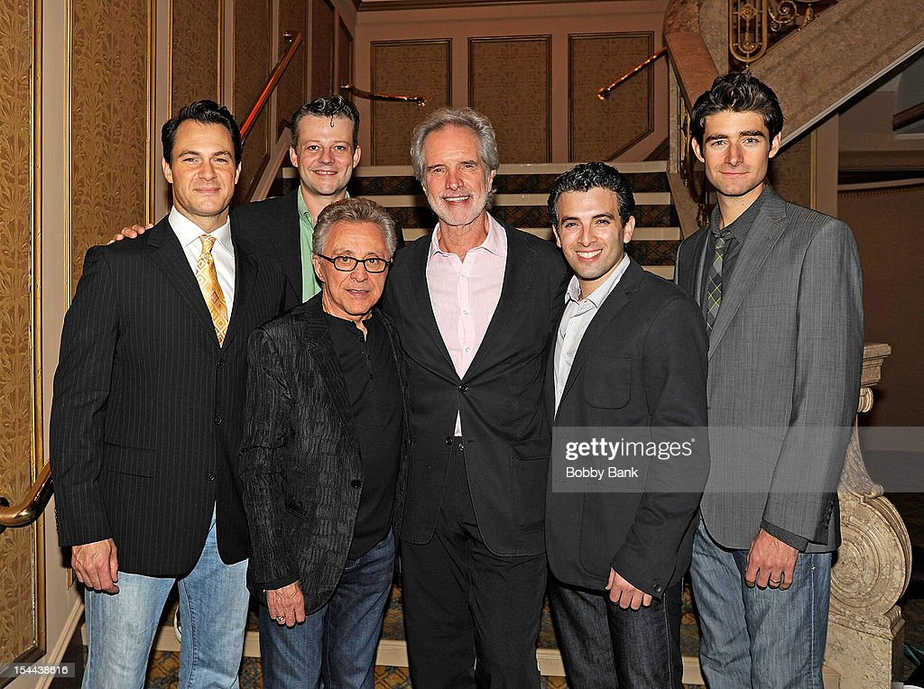 Jersey Boys cast members Matt Bogart, Drew Gehling, Jarrod Spector, Jeremy Kushnier, <a gi-track='captionPersonalityLinkClicked' href=/galleries/search?phrase=Frankie+Valli&family=editorial&specificpeople=585927 ng-click='$event.stopPropagation()'>Frankie Valli</a> and <a gi-track='captionPersonalityLinkClicked' href=/galleries/search?phrase=Bob+Gaudio&family=editorial&specificpeople=746103 ng-click='$event.stopPropagation()'>Bob Gaudio</a> attend <a gi-track='captionPersonalityLinkClicked' href=/galleries/search?phrase=Frankie+Valli&family=editorial&specificpeople=585927 ng-click='$event.stopPropagation()'>Frankie Valli</a> And The Four Seasons 50th Anniversary Celebration at Broadway Theatre on October 19, 2012 in New York City.