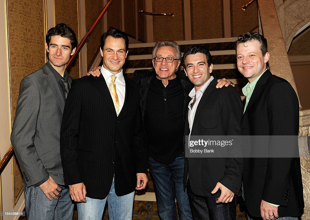 Jersey Boys cast members, Matt Bogart,Drew Gehling, Jarrod Spector Jeremy Kushnier and <a gi-track='captionPersonalityLinkClicked' href=/galleries/search?phrase=Frankie+Valli&family=editorial&specificpeople=585927 ng-click='$event.stopPropagation()'>Frankie Valli</a> attends <a gi-track='captionPersonalityLinkClicked' href=/galleries/search?phrase=Frankie+Valli&family=editorial&specificpeople=585927 ng-click='$event.stopPropagation()'>Frankie Valli</a> And The Four Seasons 50th Anniversary Celebration at Broadway Theatre on October 19, 2012 in New York City.