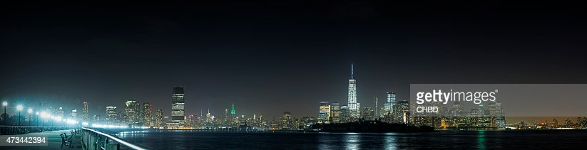 Jersey City and NYC panorama at night