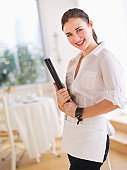 USA, Jersey City, New Jersey, portrait of young waitress