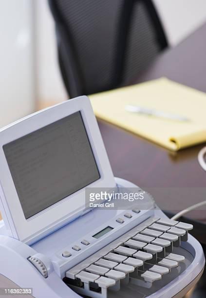 USA, Jersey City, New Jersey, stenograph machine