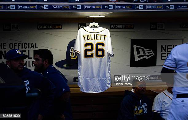 A jersey hangs in the San Diego Padres dugout in honor of Yuliett Solarte before a baseball game against the Arizona Diamondbacks at PETCO Park on...