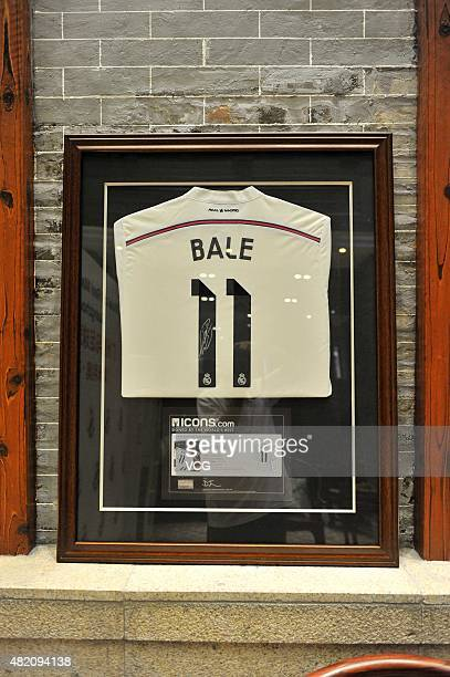 A jersey of Real Madrid's Bale exhibits during the opening of Guangzhou Real Madrid Fan Club on July 27 2015 in Guangzhou China