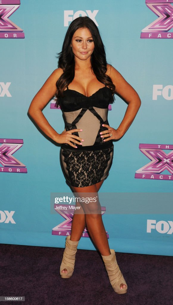 Jersey Shore cast Jenni 'Jwoww' Farley arrives at Fox's 'The X Factor' Season Finale Night 1 at CBS Television City at CBS Studios on December 19, 2012 in Los Angeles, California.