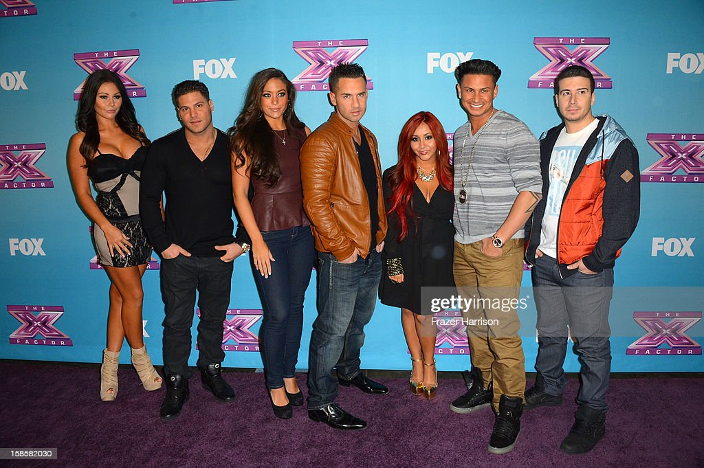 Jersey Shore cast (L-R) Jenni 'Jwoww' Farley Ronnie Ortiz-Magro Sammi 'Sweetheart' Giancola, Mike 'The Situation' Sorrentino, Nicole 'Snooki' Polizzi,Paul 'Pauly D' DelVecchio,Vinny Guadagnino arrive at Fox's 'The X Factor' Season Finale Night 1 at CBS Television City on December 19, 2012 in Los Angeles, California.